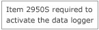 Item 2950S required to activate the data logger